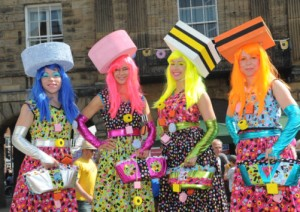 'Chicks with Sticks' dressed as Liquorice Allsorts at the festival.