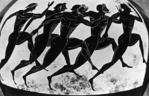 Olympic runners depicted on an ancient Greek vase given as a prize in the Panathenaea, circa 525 BC. Original Publication : Picture Post - 5953 - Where the Olympic Games Started - pub. 1952 (Photo by Picture Post/Hulton Archive/Getty Images)